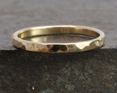 14K Yellow Gold Ring, Hammered Texture 2mm Band, Sea Babe Jewelry