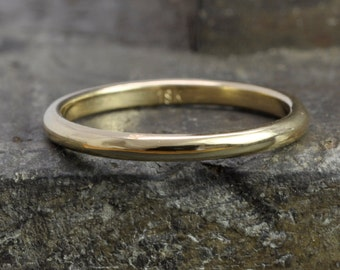 Yellow Gold Ring, 18K Yellow Gold 2x1.5mm Half Round Ring, Smooth Polished Finish, Recycled Gold Wedding Ring, Sea Babe Jewelry