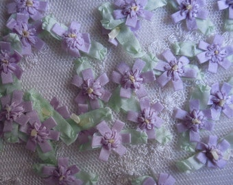 36 pc Delicate LAVENDER Handmade Baby Doll french knot ribbon bow flowers