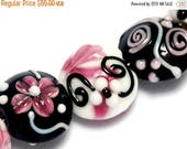 ON SALE 50% OFF Seven Black & White w/Pink Lentil Beads - Lampwork Glass Bead Set 10107102