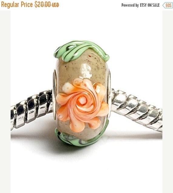 ON SALE 35% OFF Glass Lampwork Beads  - Large Hole Brown w/Orange Flower Rondelle Bead - Sc10057