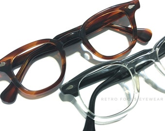 True Vintage IMPERIAL USA Rare size 50's Blackwood Fade or Amber Tortoise Hornrim Hipster Eyewear Prescription Glasses Eyeglasses Frames