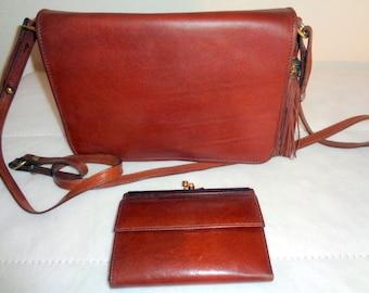 Brahmin bridal leather SMALL bag and  Brahmin wallet set, cross body purse satchel messenger bag, British tan Italian leather vintage 80s