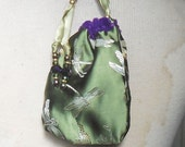 "Reversible Royal Purple Velvet Olive Green Dragonfly Brocade Pouch Large Size 15 x 10 cm . (5 3/4"" x 4"") Enchanted Etsy OlyTeam"