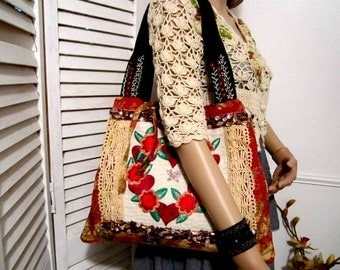 Handmade Bag Tote Folk Bohemian Style Embroidery Bag OOAK