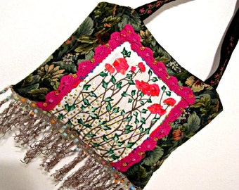 Handmade Bag Tote Folk Bohemian Hippie Style Embroidery Bag OOAK