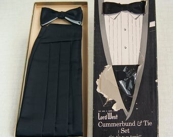 1950s Vintage L0RD WEST CUMMERBUND and Clip-on B0WTIE Set in Original Box EUC