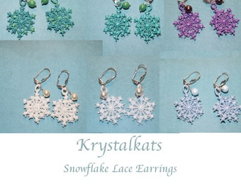 Snowflake Lace Earrings-Embroidered Lace Snowflake Earrings-Snowflake Earrings with Swarovski Crystal Pearls-Crochet Snowflake Earrings-Snow