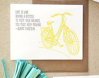 Life is like riding a bicycle Einstein quote letterpress card
