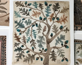 The Oak Tree, original miniature watercolor painting