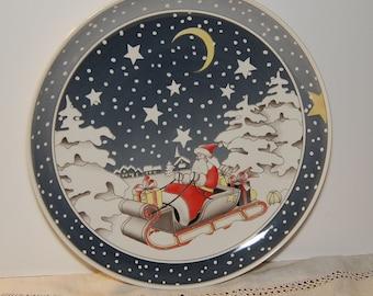 Vintage Villeroy & Boch Christmas Plate Santa Claus St. Nicholas W. Germany Platter