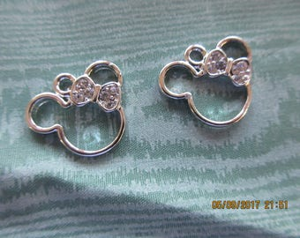 Minnie, Minnie Charm, Silver and Rhinestones, Minnie Bow,  Ready to use on Necklace or Bracelet or Pin