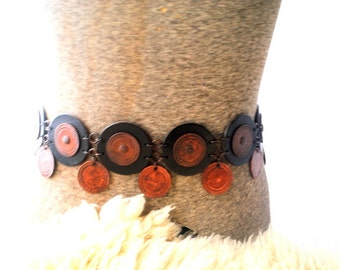 Renaissance vintage 70s genuine  brown leather and copper, hand made belt with a disk links and dangle coins.