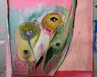 Valentine terrarium with eyes, original oil painting on arches paper