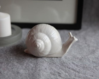 Garden Snail Sculpture in Stoneware with White Glaze (medium)