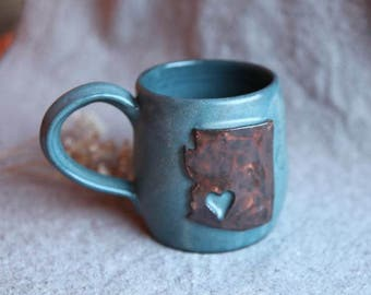 Arizona Ceramic Mug in Stoneware with Blue Speckle Glaze