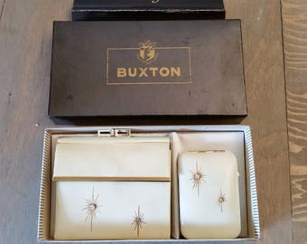 Vintage Mid Century Lady Buxton Wallet and Matching Key Tainer Set Starburst with Rhinestones in Original Box