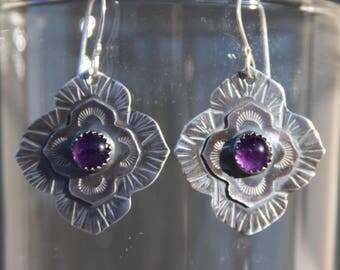 stamped sterling silver earrings with amethyst