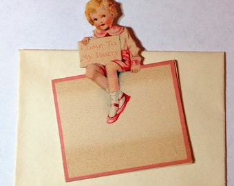 Vintage Party Invitation with Envelope Little Girl Come to My Party Ephemera Unused