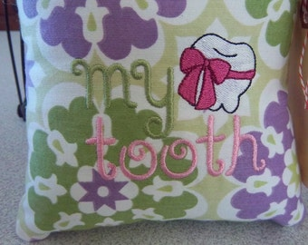 1044  Purple, Green and White Tooth Fairy Pillow