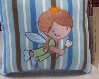 1063 Blue, Brown and White Striped Tooth Fairy Pillow