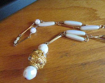 Milk glass tube necklace