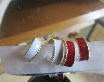 set of small white and red hoop earrings