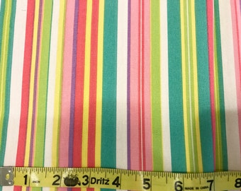 Beach Umbrella fabric | Pink Green Yellow Stripe | Cotton Twill fabric