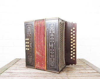 Vintage Accordion - Beaver Brand Push Button - Antique Diatonic Melodeon - Hohner Style Pokerwork Instrument - Squeezebox Rustic Home Decor