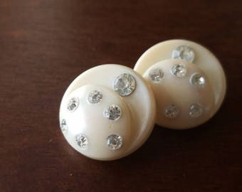 Vintage Buttons -  beautiful and unique lot of 2  matching off white celluloid with rhinestones, (mar 249 17)