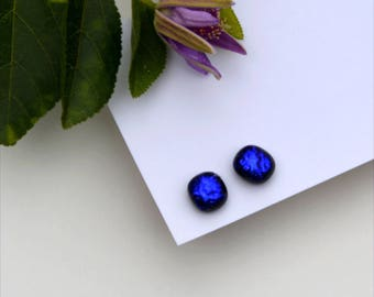 290 Fused dichroic glass earrings, slightly rectangle, purple blue