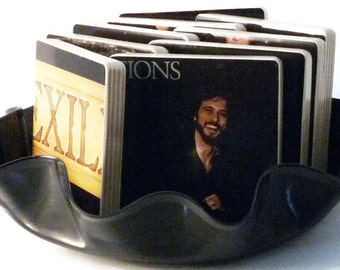 Exile recycled Mixed Emotions music album cover wood coasters and warped record bowl