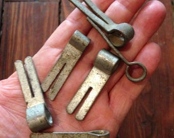Six Antique Clips for Metal Chocolate Molds ~ Confections ~1930's ~ FREE Shipping