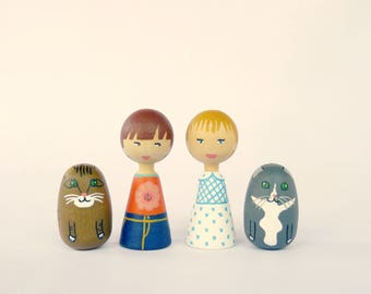 Personalized children or pets Portrait Dolls Decorative art - FREE SHIPPING Wooden hand painted dog cat lover