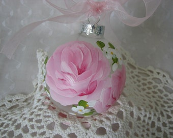 Clear Glass Ball Ornament Hand Painted Pink Roses Cottage Chic