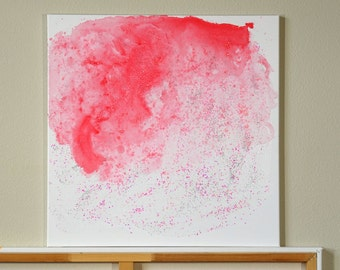"Pink & White Sparkles Glitter Painting on Canvas, Feminine Art, Pink Wall Decor, Fun Art, Modern Minimalist Original Abstract Space  24""x24"""