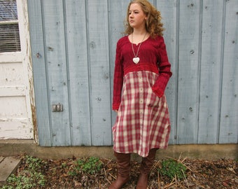 Upcycled Country Red Puckered Plaid Shirt Dress// Cowgirl// Reconstructed// Large// emmevielle