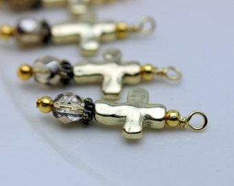 Gold Hammered Cross and Crystal Bead Dangle Charm Drop Set