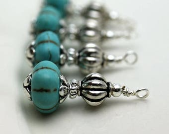 Vintage Style Turquoise Ribbed Melon with Silver Ribbed Bead Earring Dangle Necklace Charm Drop Set