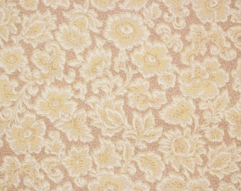 1920s Antique Vintage Wallpaper White and Yellow Flowers on Brown by the Yard--Made in England