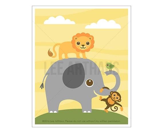 107A Animal Wall Art - Elephant Lion Monkey and Bird Wall Art - Lion Print - Monkey Art - Elephant Print - Zoo Wall Art - Jungle Nursery Art