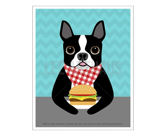 299D Food Art - Boston Terrier Eating Hamburger Wall Art - Burger Print - Foodie Gift - Hamburger Illustration - Cute Boston Terrier Drawing