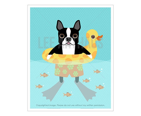 208D Dog Print - Boston Terrier Dog Swimming Wall Art - Boston Terrier Print - Funny Dog Art - Boston Terrier Wall Art - Swimming Print