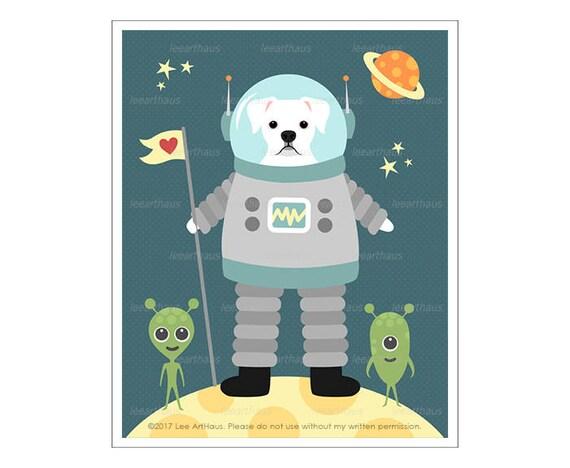 309D Boxer Dog Print - White Boxer Dog in Space Wall Art - Astronaut Decor - Space Art - White Boxer Dog Print - Dog Theme Nursery Art