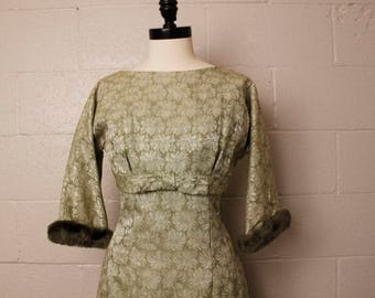 Vintage 1960's Sage Green Brocade Dress M