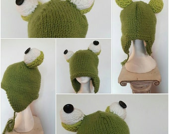 Hand knitted winter frog hat