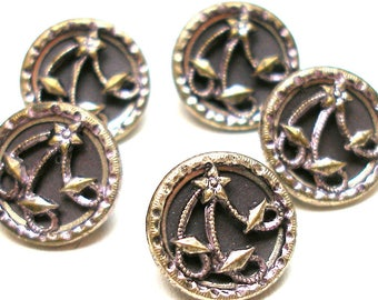 "Antique Star BUTTONS, 5 Victorian Shooting STARS with lilac tint, 1/2""."