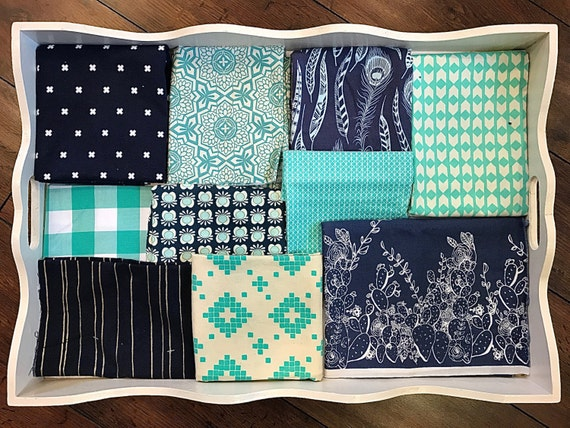 Baby Boy's Navy & Mint Patchwork Quilt Made to Order