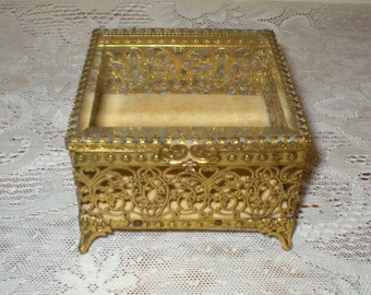 Jewelry Box Casket Beveled Glass Filigree Metal Vintage
