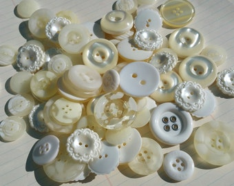 White Buttons - Assorted White Ivory Cream Lace Button - Bulk Sewing Buttons - 75 Buttons - Ivory Quilt